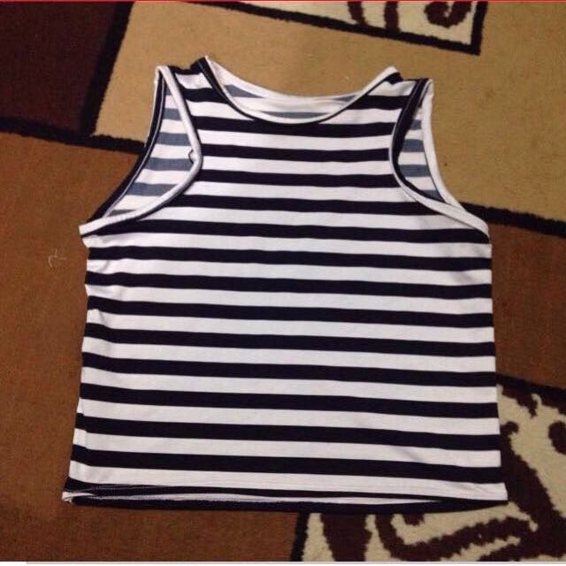 White And Navy Blue Stripe Halter Top