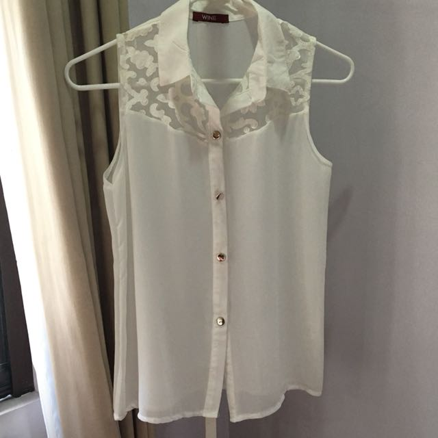White Collared Lace Top with Rosegold Buttons