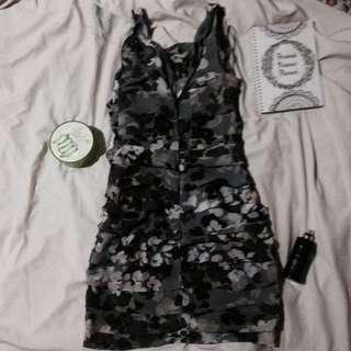 Floral grey Dress