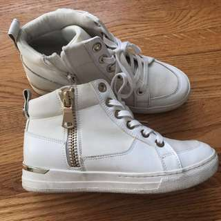 White and Gold Sneakers