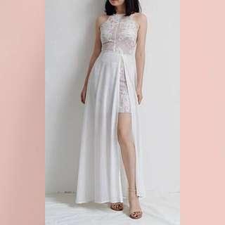 【看身材系列】開高衩設計剪裁白紗洋裝-全新