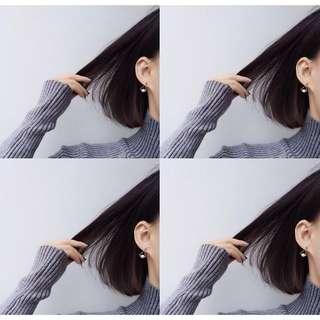 🚚 全新925銀 韓國新款 小巧氣質幾何珍珠耳環玫瑰金#舊愛換新歡