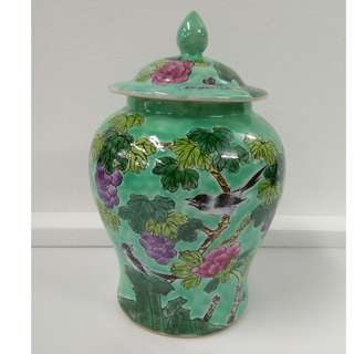 Special Artistic Porcelain Ornamental Jar fish tail shape with flowers and bird design on green ground in glaze