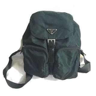 中古 Prada backpack 墨綠色背囊 中size 非 Hermes Dior Valentino Ysl Polo Celine Porter