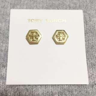 TORY BURCH Logo Earrings Gold 金色Logo 六角形耳環