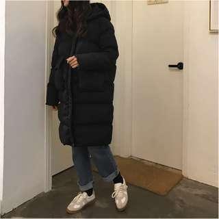 連帽大口袋鋪棉長版舒適大外套