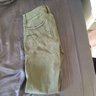 American eagle army green stretchy jeggings size 0