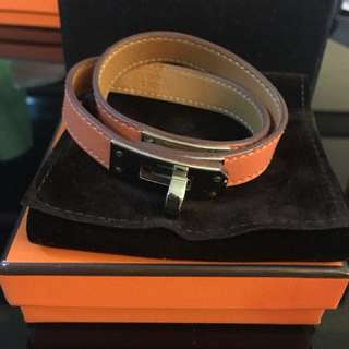 Hermes Kelly Double Tour Bracelet Orange and Silver