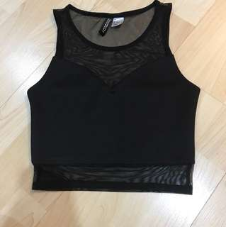 H&M Mesh Panel Crop Top Black
