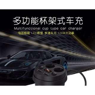 🌟現貨❤️杯式車充❤️ 數顯車充 一拖四點煙器插頭3.1A雙USB車載充電器  🌟