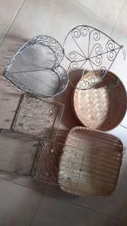 Rattan baskets and wired boxes