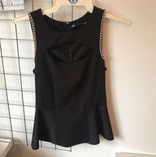 Black Peplum top Size XS