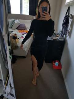 Black long sleeve dress with slit