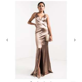 Gold maxi evening dress with slit