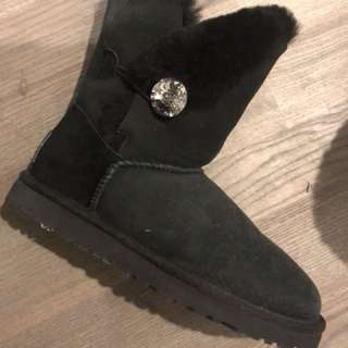 UGG black boots with diamond button.