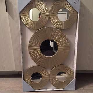 Set of 5 Gold round Mirrors