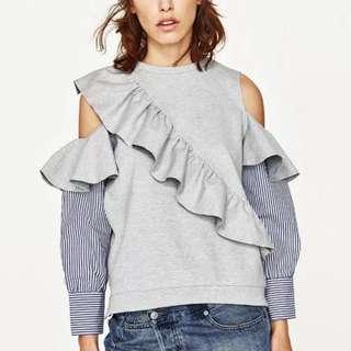 歐風時尚香肩荷葉立體拼接條紋襯衫設計款