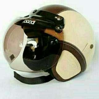 Helm Retro Bogo Kulit Classic Coklat Cream