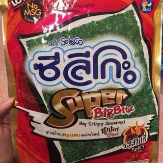 🚚 美人魚海苔  吃膩了小老闆海苔 就來吃美人魚牌吧 泰國的海苔多數都是用烤的 不用怕吃多變胖喔  口味:鹽味/醬油/辣味,1包80