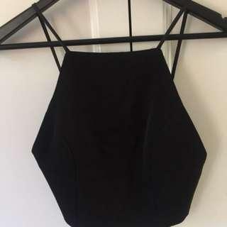 Black Bardot Crop Top