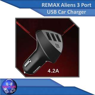 GENUINE REMAX Aliens 3 port car FAST charger 4.2A
