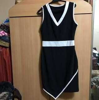 Black body hugging dress