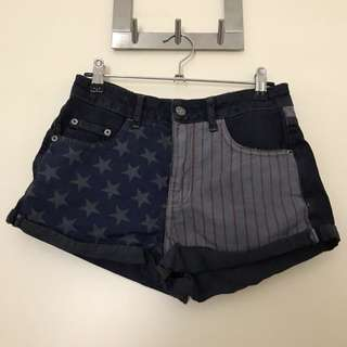 Topshop flag shorts