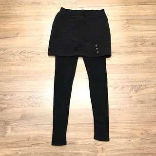 💙💙正韓 假兩件短裙式黑色內搭褲