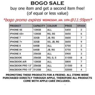 IPHONES AND MACBOOKS BOGO SALE!!!