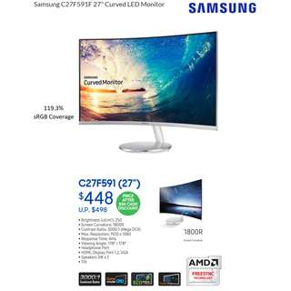 "Samsung Monitor C27F591 27"" Curved LED Monitor with AMD FreeSync 3 Year Local Onsite Warranty ( CF591 / C27F591F )"