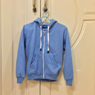 Hoodie Zipper Light Blue Kangaroo Pocket Cartex Blanche Tali Putih