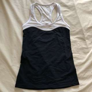 AS NEW Lorna Jane gym sports top black and white tank singlet xs
