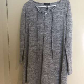 Boohoo Grey Lace Up Swing Dress BNWT