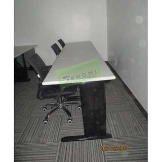 OFFICE TABLES BLACK METAL LEGS--KHOMI