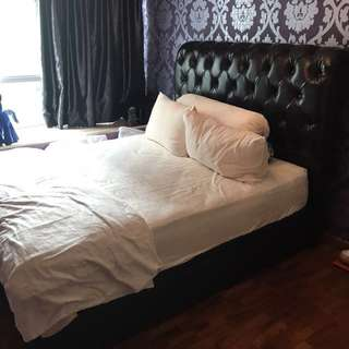 Queen sized Storage bed frame Black with crystals