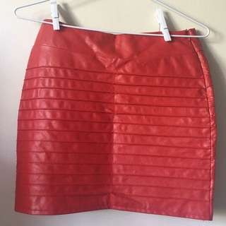 FREE POST Red Leather Skirt VERY GOOD Condition Sz S