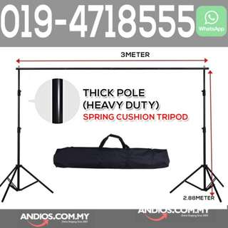 In-Stock✔3x2.88m Pro Portable Heavy-Duty Backdrop Stand (Spring Cushion Tripod)