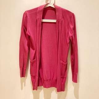 開襟針織外套 桃紅 #冬季衣櫃出清