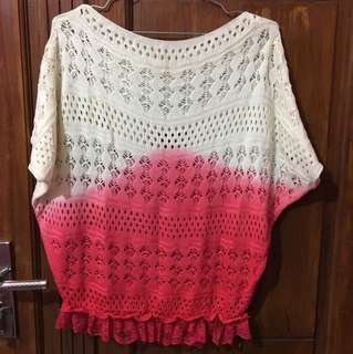 Sweater Rajut Ombre Pink