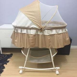 Alpha Living Baby Swing Bassinet with Mosquito Net PLUS Portable Folding Baby Lounge - Brown