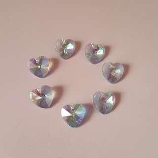 Blue heart beads (7 pcs)