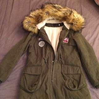 毛絨絨內刷毛軍綠質感外套