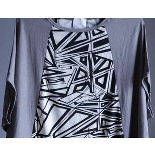 Grey Batwing Dress with Geometrical Pattern