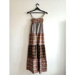 MAXI CHOCO FLOWER DRESS