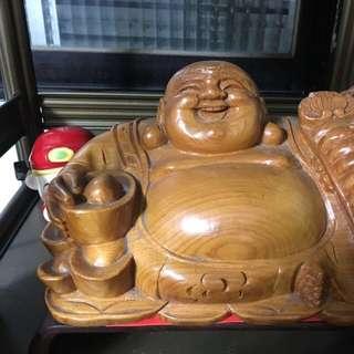 財神爺彌樂佛 有石頭 有木雕