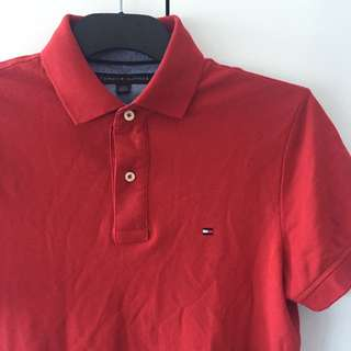 Mens Red Tommy Hilfiger Polo