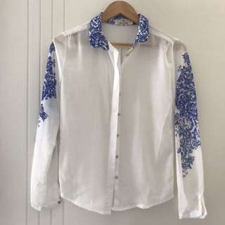 European Long Sleeve Chiffon Blouse White & Blue