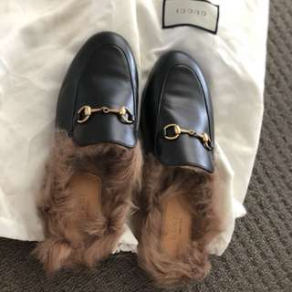 AUTHENTIC GUCCI PRINCETOWN FUR LOAFERS