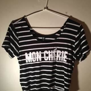 b&w striped Mon Cherie crop top