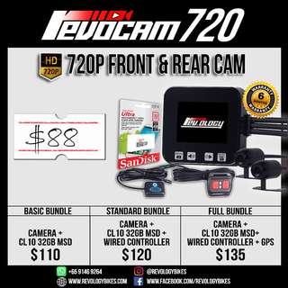 RevoCam 720p 2017 Motorcycle Front + Back Camera